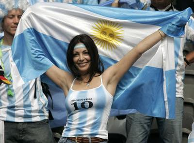 An Argentina fan waits in the stands before the World Cup 2006 quarter-final soccer match between Germany and Argentina in Berlin