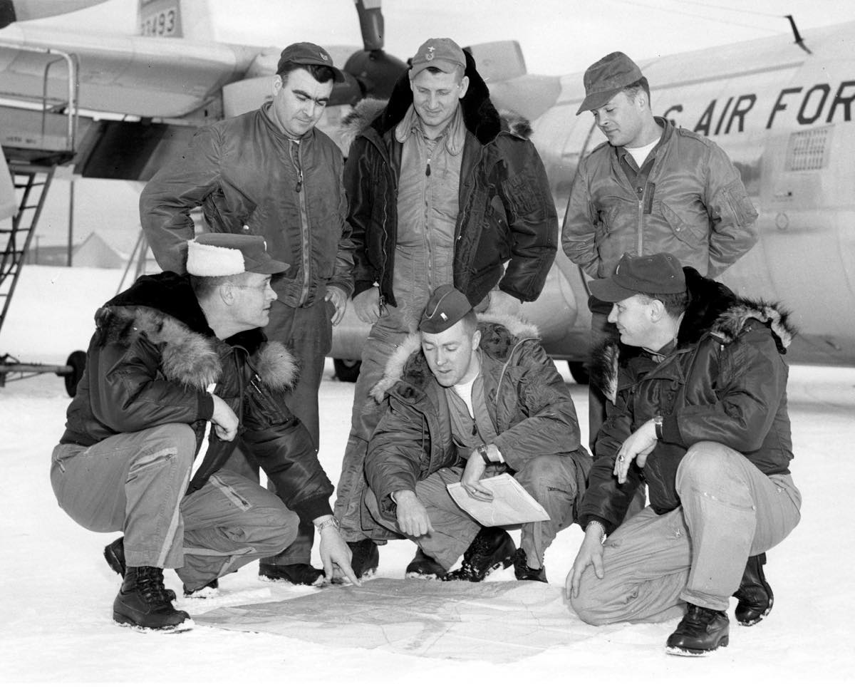 Weather Recon crew being briefed before a mission on a C-130. USAF Photo